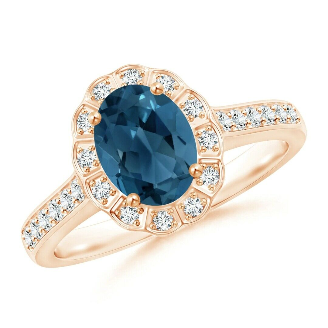 14k Yellow gold Natural Full Cut Diamond London bluee Topaz Engagement Ring
