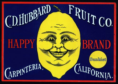 Happy Lemon Fruit Crate Label Art Print Citrus Sunkist Hubbard CO Carpenteria CA