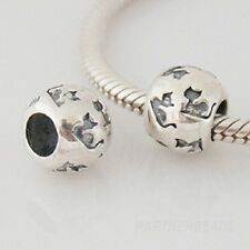 Genuine Solid 925 Sterling Silver Cat Patterned Charm Bead
