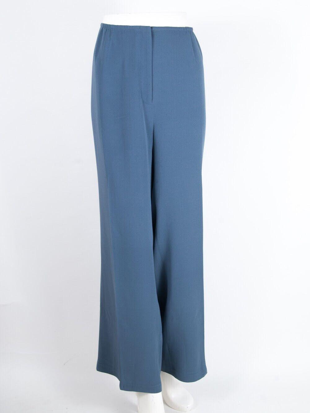 Eileen fisher Woman Pants Wide Leg Full Silk Spandex Casual Or Dress bluee 1x