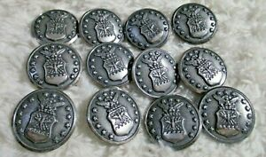 """12 VINTAGE US Air Force BUTTONS Shield Eagle Stars 5//8/"""" WATERBURY free US ship"""