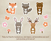 Pink Woodland Animals Party Cutouts Decorations Printable