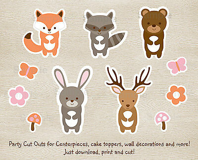 graphic about Printable Woodland Animals identified as Purple Woodland Pets Social gathering Cutouts Decorations Printable eBay
