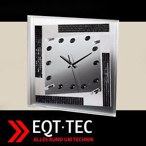 Details zu Design Wanduhr Steine Strass Uhr Küche Wohnzimmer Deko Uhren  silber eckig NEU