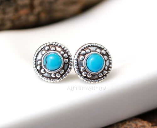 Sterling Silver Turquoise Earrings Classic Tiny Circle Blue Dot Stud Earrings