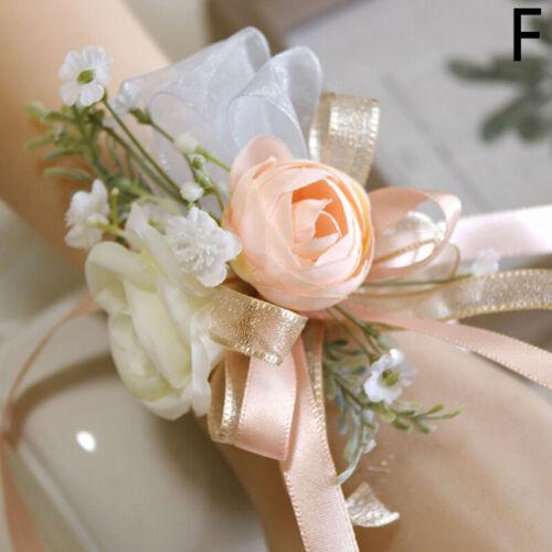Wedding Bride Groom Pink Rose Artificial Flower Corsage Wrist Flower Boutonniere
