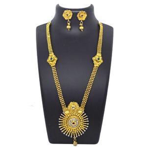Indian-Golden-Long-Necklace-Earrings-CZ-Kundan-Wedding-Party-Ware-Jewelry-Set