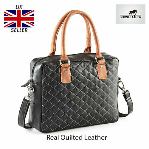 Designer Womens Real Genuine Leather Tote Quilted Large Hand Bag RRP £125Sale UK
