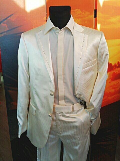 Herrenmode Herrenanzug Größe 54/182 Anzug Beige Ivori Steine Hochzeit