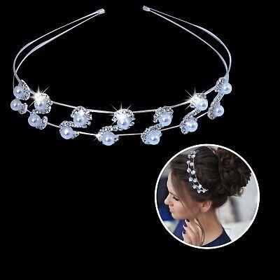 Appena Donna Cristallo Scintillante Diamante Strass Perla Capelli Tiara Festa Fascia Sapore Puro E Delicato
