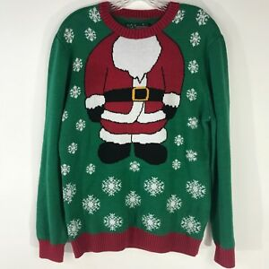 Christmas Sweater Suit.Details About Ugly Christmas Sweater Green Red Santa Suit Snowflakes Long Sleeve Adult Large