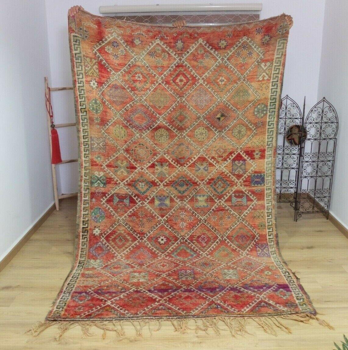 Vintage-Auténtica Alfombra De Lana boujaad bereber (110x70 pulgadas) tejidos a mano Alfombra