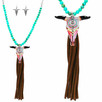 Longhorn Bull Skull Blue Turquoise Cowgirl Boot Bracelet Adjustable Size Chain 16 inches