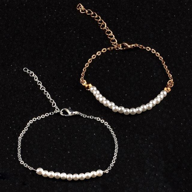 elegante pulsera de perlas imitación cadena oro plata joyería mujer bisutería