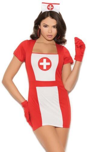 Retro Nurse Costume Uniform Dress Gloves Hat Short Sleeves Cross White Red 99080