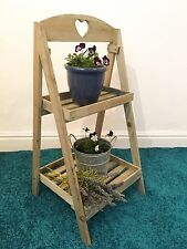 Rustic Wooden 2 Tier Plant Stand Wood Display Step Shop Stall Shabby Chic Shelf