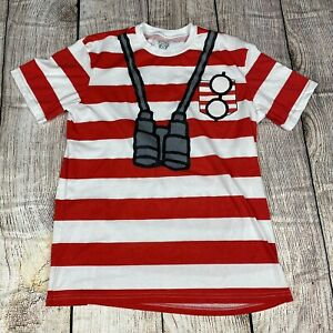 Where-s-Waldo-T-Shirt-Mens-Sz-M-Red-White-Cotton-Screen-Print-Halloween-Costume