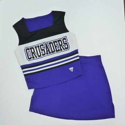 6-14 Purple Costumea2 Cool In Summer And Warm In Winter Sporting Goods Cheerleading Faithful Varsity Crusaders Cheer Cheerleader Uniform Top Skirt 34