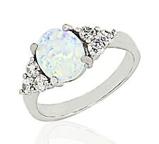 Lab White Fire Opal ~ Solid Sterling Silver Ring ~ Choose Size