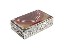 Continental Silver & Agate Snuff Box, c1910. Hand Etched Leaves