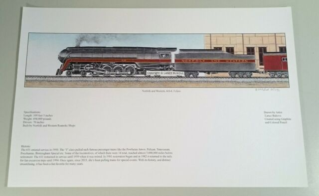 Railroad Train art N&W Norfolk and Western 4-8-4 611 J Class signed print