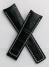 Black/white alligator-style band for TAG Heuer Grand Carrera with FC5037/9 clasp