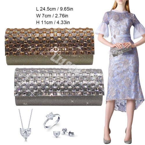 Women Gold Silver Diamante HandBags Evening Clutch Bag Wedding Party Handbags