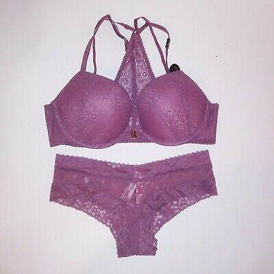 Victoria/'s Secret Bombshell Push Up Bra /& Panty Set Redish Pieced Lace 32B 34A