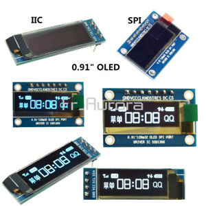 "0.91"" inch IIC I2C SPI 128x32 White/Blue OLED LCD Display Module For Arduino PIC"