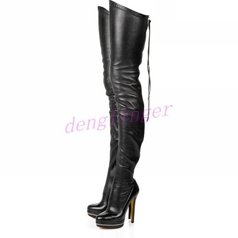 Signore donna  High Heels Lady Stiletto Leather Dance Over Knee Thigh High stivali  fantastica qualità