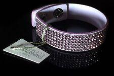 Swarovski Elements Bracelet Crystal Light Pink Alcantara ® Leather Bling Cuff