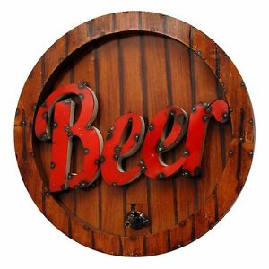 Image Is Loading Rustic Arrow Large Round Beer Wall Decor Sign