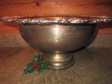 "Huge 18"" Vintage Silverplate Punch Bowl Ornate Repousse Grapes & Leaves Rim"