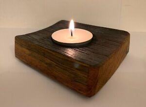 Handmade French Oak barrel Stave Tea Light Candle Holder