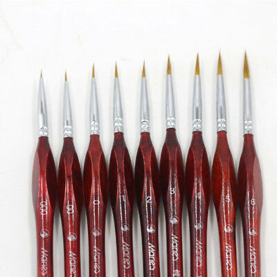 9pcs//set Paint Brush Professional Sable Hair Detail Mini Art Nail Brushes