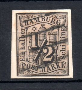 Germany-Hamburg-1859-1-2s-black-1-good-used-on-piece-WS12650