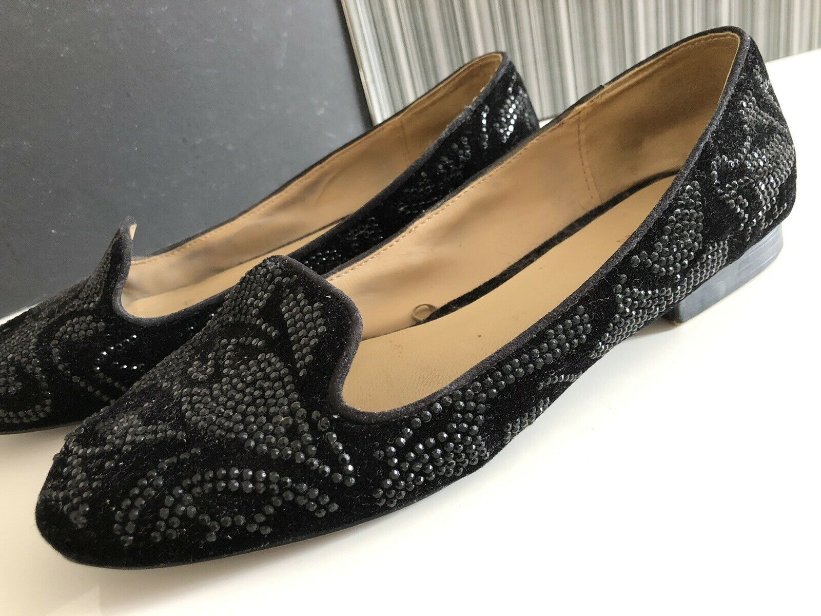 Zara Slipper 40 Mokassins Samt Strass schwarz Schlappen Business