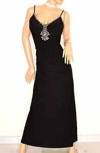 ABITO-NERO-LUNGO-donna-elegante-strass-cristalli-vestito-da-sera-cerimonia-E135