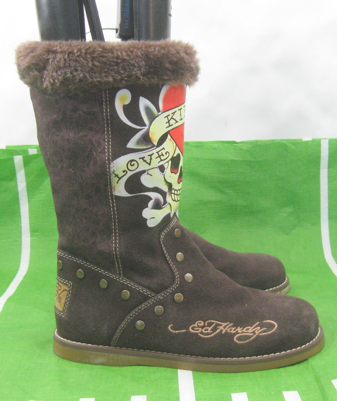 Brown Hot Ed hardy Women mid-calf Suede Sexy Boots Size 9