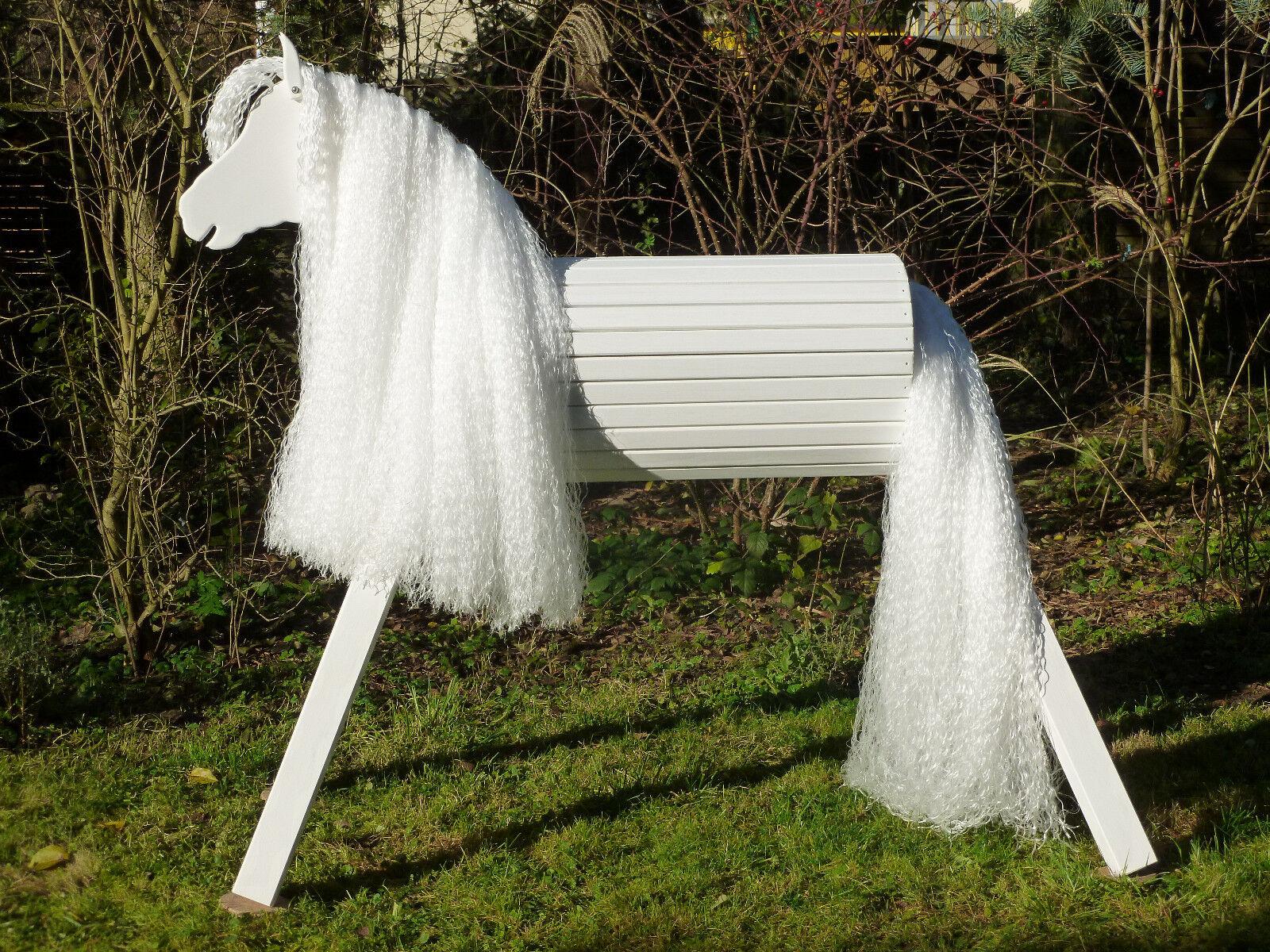 Schaukelspielzeug Das Prinzessin Traumpferd Voltigierpferd Holzpferd Chanise 110 cm in weiss
