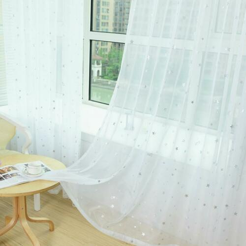 Star Print Window Curtain Tulle Modern Transparent Drapes Sheer Home Decorations