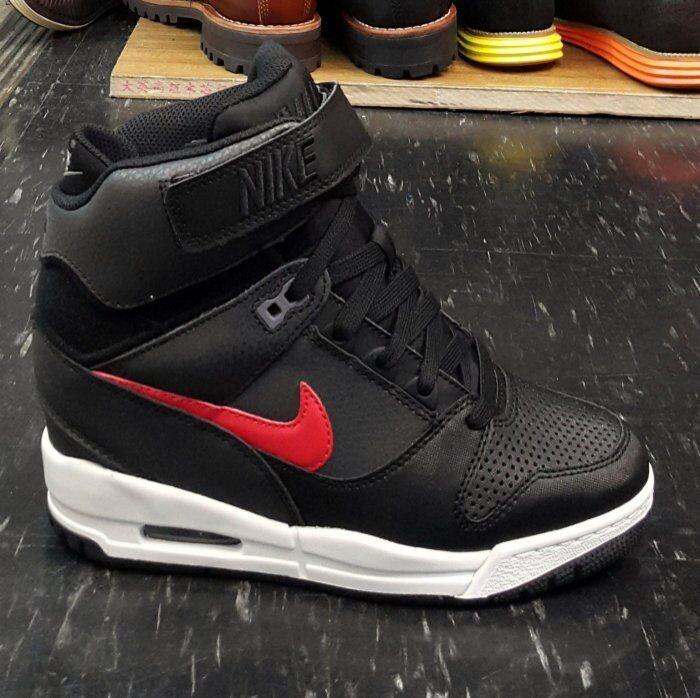 NIKE WOMENS AIR REVOLUTION SKY HI BLACK/RED HIdden Wedge 599410-020 Heels Shoes