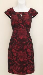 MADISON-LEIGH-PETITE-Womens-Dress-Sz-8P-Red-Black-Sheath-Floral-Cap-Sleeve-Lined