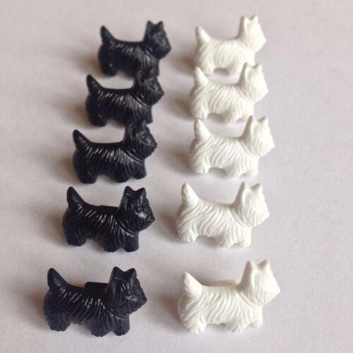 Terrier Perro Botones de Plástico con caña X10 negro o blanco Bebé Niños Craft