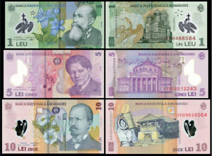 ROMANIA-RUMANIA-SET-3-pcs-1-5-10-LEI-LEU-2005-2008-UNC