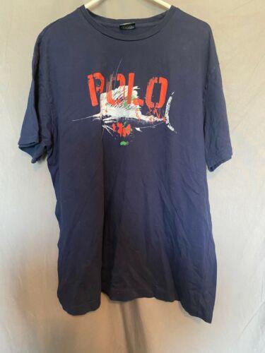 Polo Ralph Lauren T Shirt Adult L XL Blue Fishing