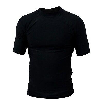Rash guard Rash Vest Black MMA Martial Arts BJJ Running Short Sleeves