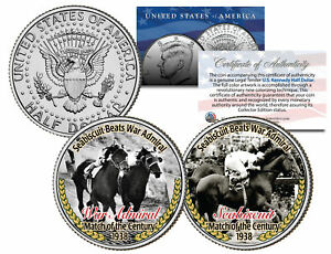 SEABISCUIT-BEATS-WAR-ADMIRAL-Match-Race-JFK-Half-Dollar-2-Coin-Set-Horse-Racing