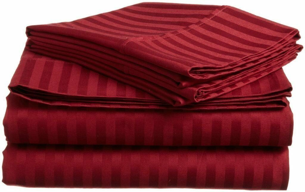 Egyptian Cotton Bedding Collection Burgundy Strip 15 Inch Deep 400 Tread Count