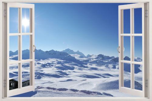 Huge Window Wall sticker Mountains Lake Snow Vinyl Decor 3d Mural Art Home Remov